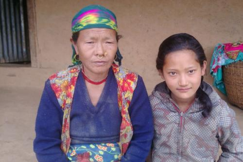 Muni Tamang with her grandmother