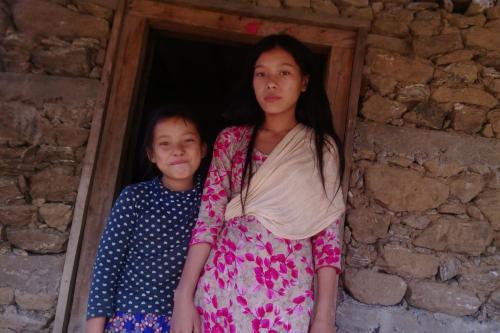 Rashmita and Asmita Tamang at her home